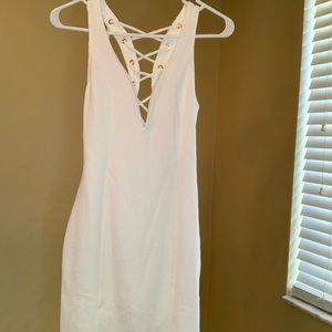 White party cocktail mini dress with tie-up back